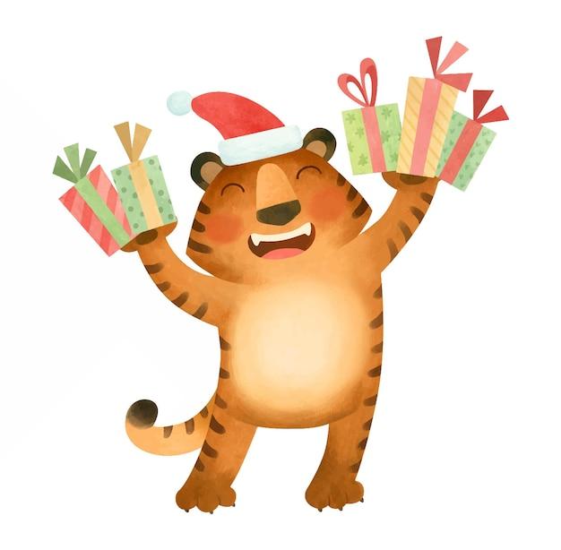Tygrys w czapce noworocznej uśmiecha się i trzyma prezenty symbol nowego roku 2022