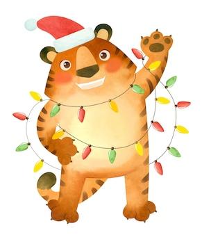 Tygrys w noworocznej czapce z girlandami symbol nowego roku 2022