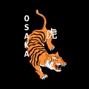 Tygrys w stylu japońskim do nadruków na koszulkach