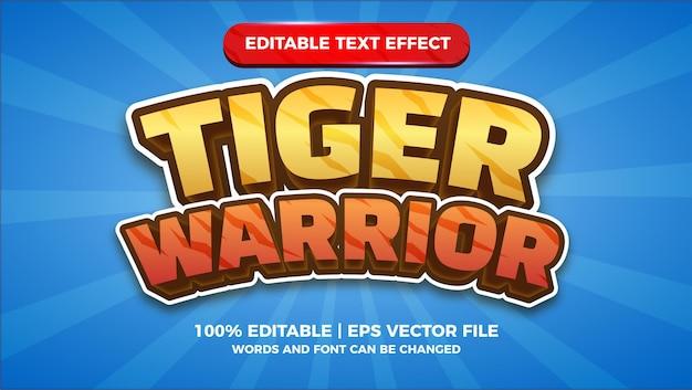 Tygrys wojownik tytuł gry komiks edytowalny efekt tekstowy