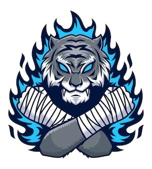 Tygrys z ilustracja niebieski ogień