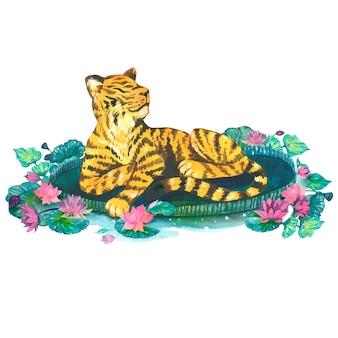 Tygrys z liliami wodnymi, ilustracje akwarela. pojedyncze elementy wektorów.