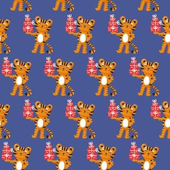 Tygrys z prezentami bezszwowe wzór fajne dziecko powtarzalny nadruk boże narodzenie ilustracji wektorowych