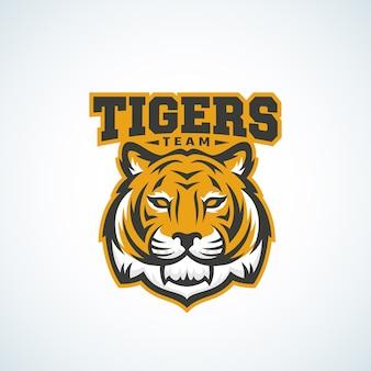 Tygrys zespół streszczenie wektor znak, godło lub szablon logo