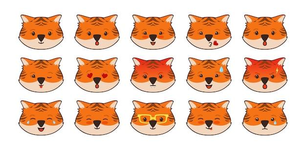 Tygrys zwierząt emoji twarze zestaw komiksowy awatar postaci