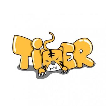 Tygrys zwierząt i ilustracji słowo