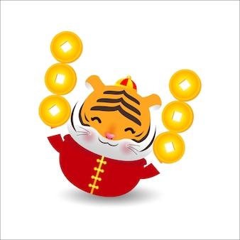 Tygrysek Trzymający Chińskie Sztabki Złota I Chiński Nowy Rok 2022 Premium Wektorów