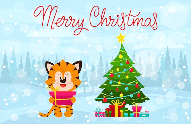 Tygrysek z różowym prezentem w łapach stoi w lesie życzenia bożonarodzeniowe z tygrysem