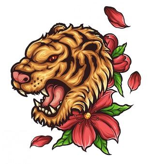 Tygrysia głowa tatuaż