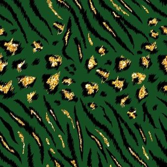 Tygrysia leopard tekstura bezszwowy wzór zwierzęcy. pasiasty złoty brokat tkanina tło dzikie zwierzęta skóry futra. moda luksusowy złoty abstrakcyjny wzór wydruku na tapetę, wystrój. ilustracja wektorowa