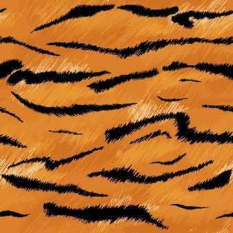 Tygrysia tekstura bezszwowy wzór zwierzęcy. tkanina w paski z futra skóry tygrysa. moda abstrakcyjny wzór wydruku na tapetę, wystrój. ilustracja wektorowa