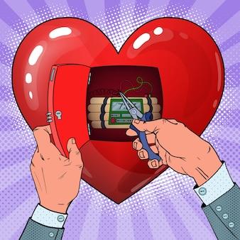 Tykająca bomba zegarowa w kształcie serca