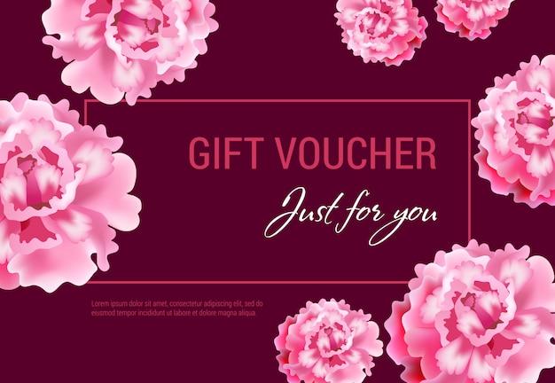 Tylko dla ciebie bon podarunkowy z różowymi kwiatami i ramą na winnym tle.