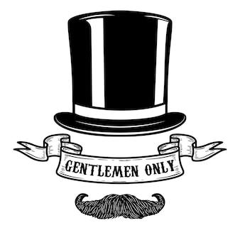 Tylko dla panów. ludzka czaszka w kapeluszu vintage z dwoma skrzyżowanymi laskami. element na plakat, koszulkę, godło, znak. ilustracja