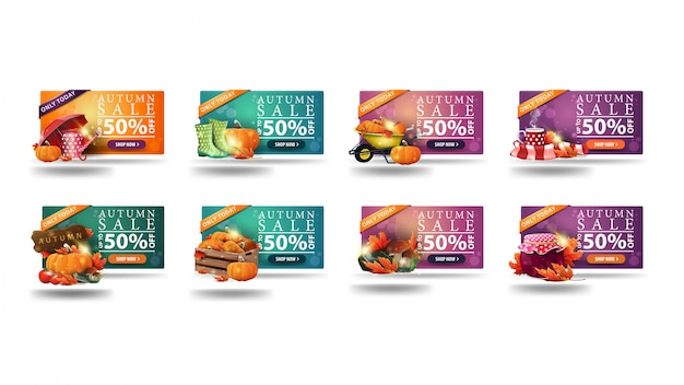 Tylko dziś jesienna wyprzedaż, rabat do 50%, duża kolekcja banerów rabatowych z jesiennymi ikonami. banery rabatowe pomarańczowy, zielony i różowy