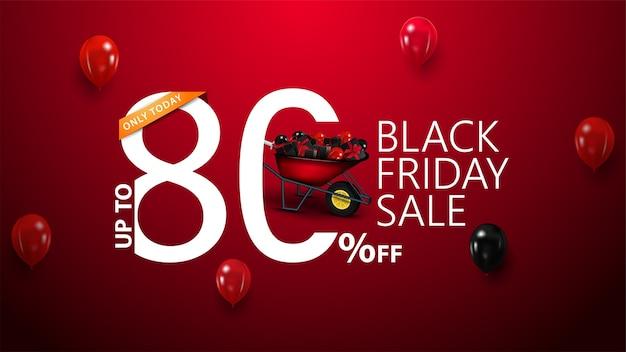 Tylko dzisiaj, black friday sale, do 80% zniżki, czerwony baner rabatowy z nowoczesną typografią na twoją stronę internetową