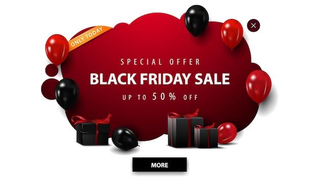 Tylko dzisiaj, oferta specjalna, wyprzedaż w czarny piątek, czerwony wyskakujący baner rabatowy w stylu graffiti z czerwonymi i czarnymi balonami i prezentami na białym tle
