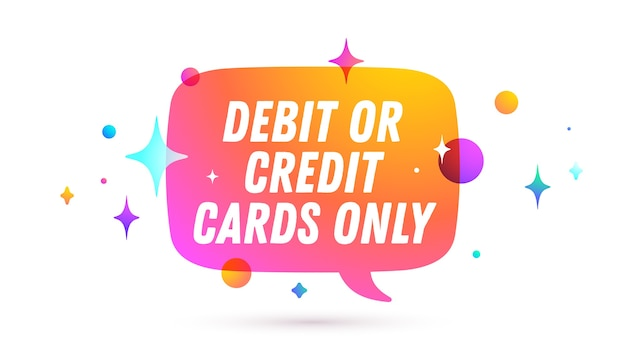 Tylko karta kredytowa. dymek. wiadomość na czacie, rozmowa w chmurze, dymek.