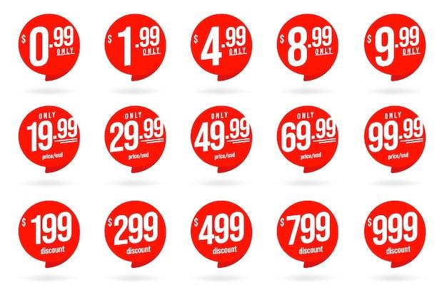 Tylko niska cena w usd i specjalna naklejka ze zniżką. zestaw okrągłych znaczników sprzedaży detalicznej lub znacznika ceny sklepu o różnej wartości pieniężnej. ilustracja wektorowa na białym tle