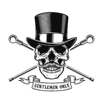 Tylko panowie. ludzka czaszka w vintage kapelusz z dwoma skrzyżowanymi laskami. element plakatu, t-shirt, godło, znak. ilustracja