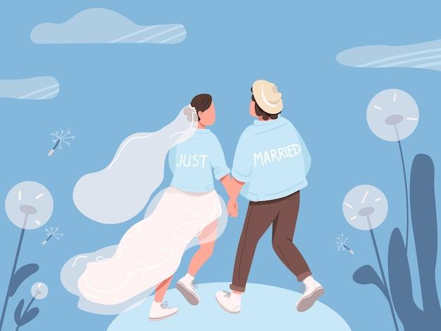 Tylko żonaty szczęśliwa para płaski kolor ilustracja
