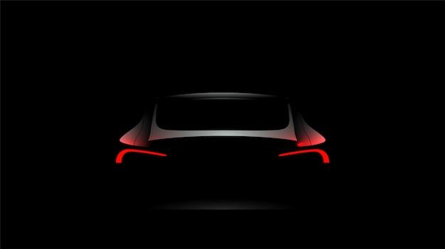 Tylna samochodowa sylwetka z czerwonymi światłami na ciemnym czarnym tle