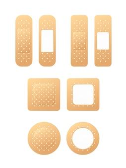 Tynk medyczny. plastry medyczne na białym tle. bandaż medyczny
