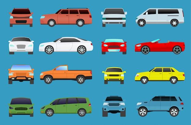 Typ samochodu wektor model pojazdu obiektów ikony zestaw kolorowych samochodów supersamochód. symbol kół typy samochodów coupe hatchback. salon samochodowy kolekcja samochodów kempingowych typy minivan płaskie mini motoryzacyjne