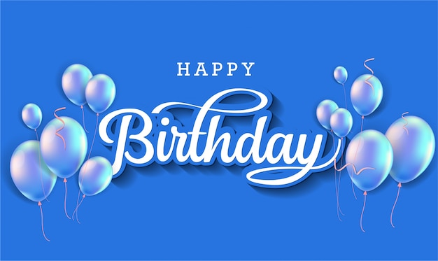 Typografia celebracja wszystkiego najlepszego z realistycznymi balonami i spadającymi konfetti.