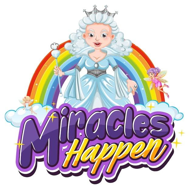 Typografia czcionek miracles happens z piękną postacią księżniczki