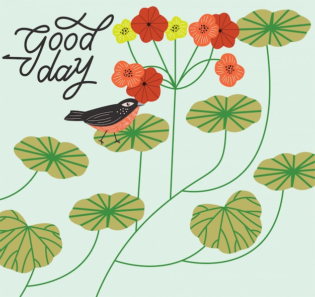 Typografia dzień dobry z kwiatami ptaków