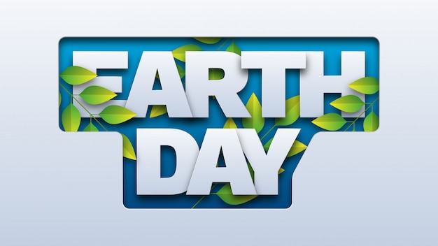 Typografia dzień ziemi z papieru wycinane