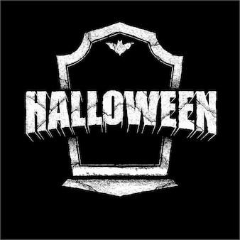 Typografia halloween w stylu kamiennego grobu