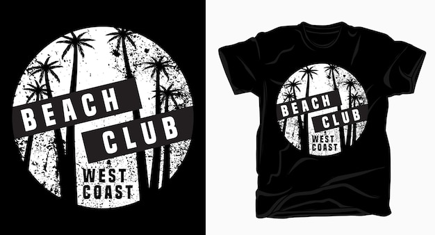 Typografia klubu plażowego west coast z t-shirtem z teksturą