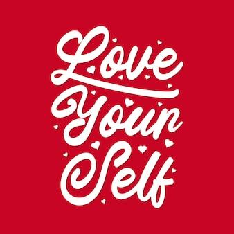 "Typografia liter ""kochaj siebie"""