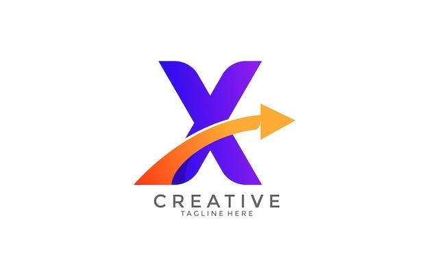 Typografia litera x gradient kolor link logo wektor swoosh