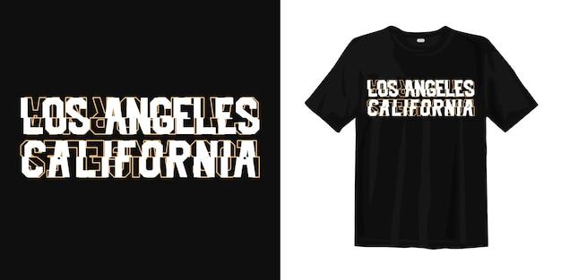 Typografia los angeles california z koszulką w stylu glitch