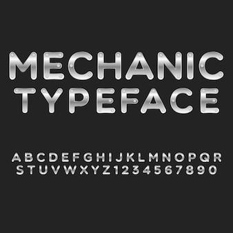 Typografia mechanik alfabet styl. ozdobne czcionki nowoczesnej czcionki. zestaw liter i cyfr.