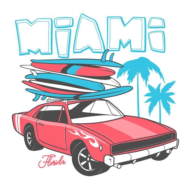 Typografia miami do nadruku na koszulce i samochód retro z deską surfingową.