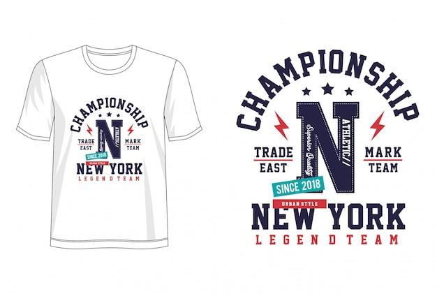 Typografia mistrzostw na koszulce z nadrukiem