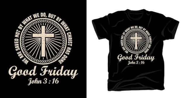 Typografia na wielki piątek z projektem koszulki z chrześcijańskim krzyżem