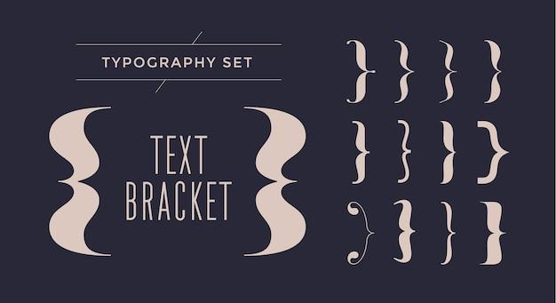 Typografia nawiasów tekstowych zestaw ilustracji nawiasów klamrowych