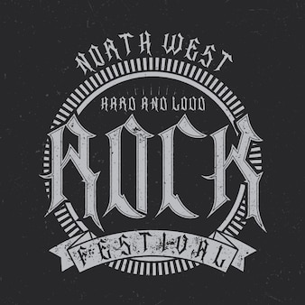 Typografia north west rock festival, grafika na t-shirt