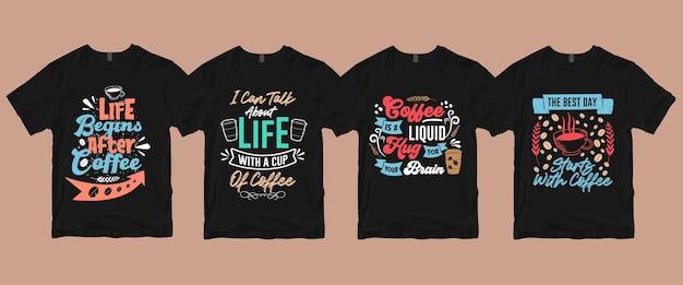 Typografia odręczne cytaty z napisami o pakiecie koszulek z kawą