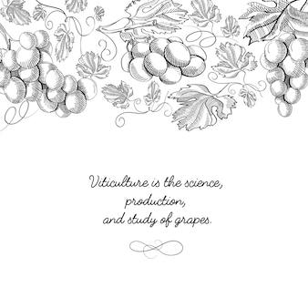 Typografia ozdobny projekt karty doodle z napisem, że uprawa winorośli to nauka