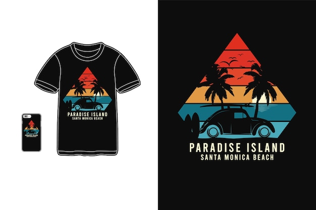 Typografia paradise island na t-shirtach i urządzeniach mobilnych