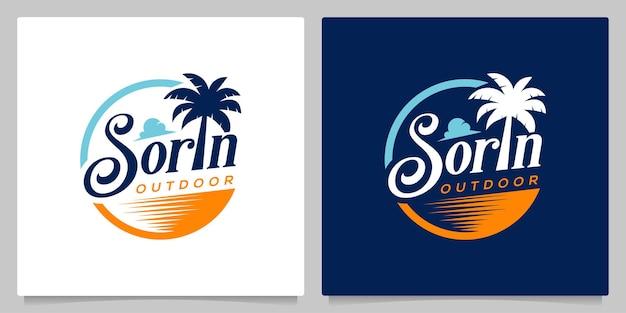 Typografia plaża palma podróż na zewnątrz vintage logo projekt ilustracja