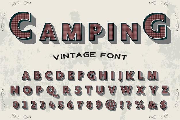 Typografia projektowanie etykiet shadow effect camping