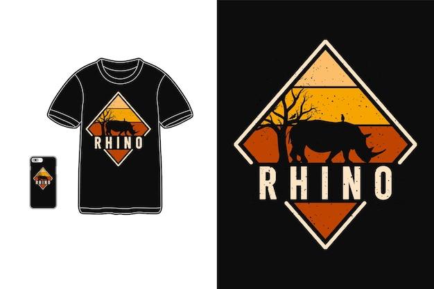 Typografia rhino na t-shirtach i urządzeniach mobilnych