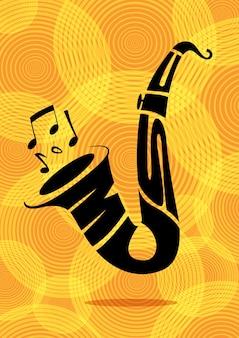 Typografia saksofonowa czarna sylwetka